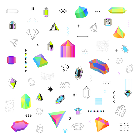 Geometric diamond prism shaped polygonal crystals bright  colorful and black contour outline icons big set isolated vector illustration Illustration