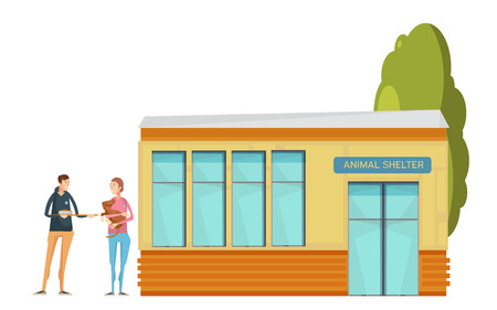 Volunteering composition with flat animal shelter house and young volunteer characters giving food to affected dog vector illustration Illustration