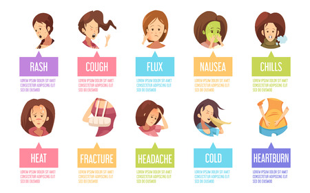 lumbago: Colored and isolated cartoon sickness woman icon set with nausea rash cough heat fracture and others descriptions vector illustration
