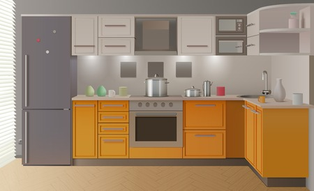 apartment stove oven orange modern kitchen interior with furniture and stylish create for exhibition sample