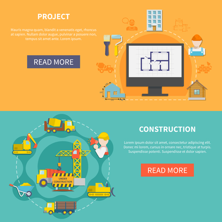 industrial construction: Industrial flat horizontal banners with planning of house building construction elements vehicles and equipment illustration