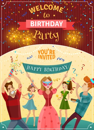 bengal: Birthday party announcement invitation card or poster  with sparklers bowers and joyful young people celebrating illustration