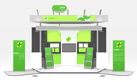광고 전시회 다채로운 더미 상자 현실적인 3d 디자인 컴포지션 infographic 스탠드와 홍보 포스터 및 그림을 강조 표시