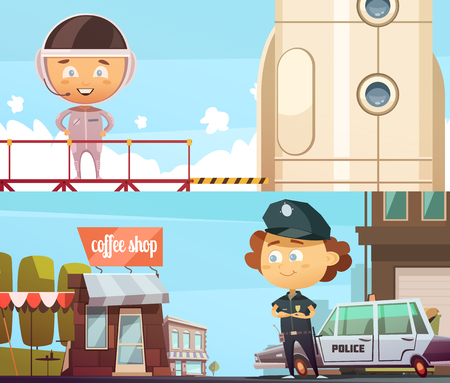 People professions two horizontal banner  with cute cartoon kids in suits of policeman and astronaut flat illustration