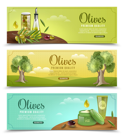 Olive cartoon horizontal banners set with oil and cream symbols isolated illustration Ilustrace