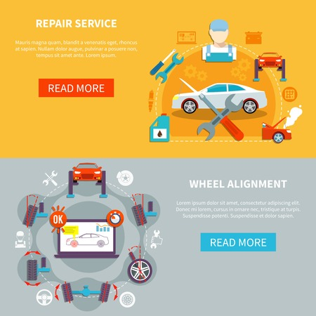 Auto service horizontal banners with repair service and wheel alignment decorative icons compositions  flat illustration