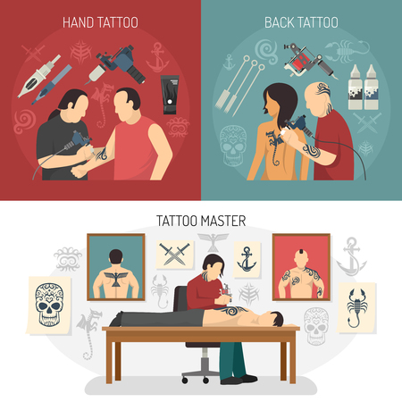 Three flat tattoo studio design concept set with hand and back tattoos and master descriptions illustration