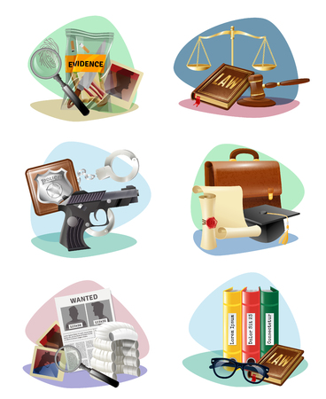 legal law: Civil law legal system symbols and criminal justice investigation attributes compositions 6 icons collection isolated illustration