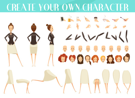Creation of woman set with emotions and hairstyles various poses and gestures cartoon style isolated vector illustration