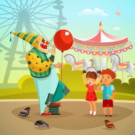 Traveling circus on amusement park fairground with clown with red balloon performing for kids retro vector illustration