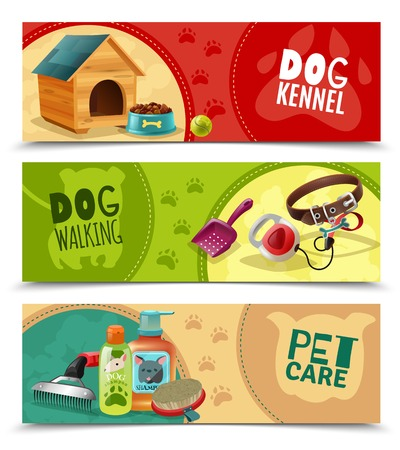 petshop: Pet care 3 funny colorful horizontal banners petsshop advertising  bookmarks collection with dog kennel isolated vector illustration Illustration