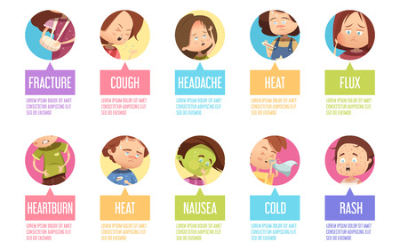 Isolated in circles cartoon sikness child icon set with fracture cough headache heat flux heartburn and others descriptions vector illustration Illustration