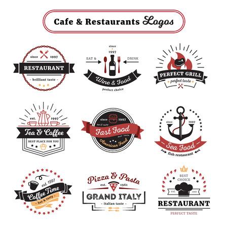 Café en restaurant emblemen vintage design met eten en drinken bestek en serviesgoed geïsoleerd vector illustratie Stock Illustratie