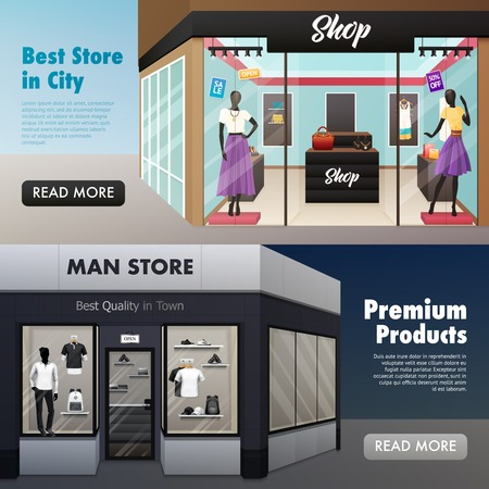 beauty shop: Set of two horizontal beauty shop banners with mens wear ladies clothes fashion store with text vector illustration
