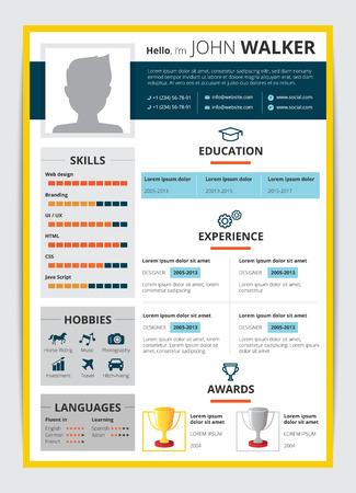 Plantilla de CV con premios de experiencia de trabajo de educación candidato masculino y otra información ilustración de vector plano reanudar