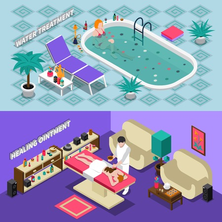 water: Spa salon isometric horizontal banners with water treatment healing ointment people and interior elements isolated vector illustration