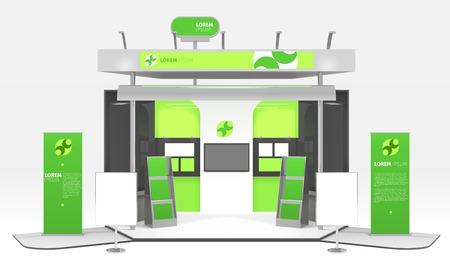 광고 전시회 다채로운 더미 상자 현실적인 3d 디자인 컴포지션 infographic 스탠드와 홍보 포스터 및 벡터 일러스트 레이 션을 강조 일러스트