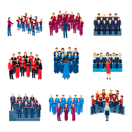 Chor flache Ikonen Sammlung von 9 musikalischen Ensembles von singenden Menschen geführt von Leiter bunte isolierte Vektor-Illustration Vektorgrafik