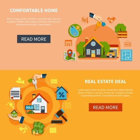 rent: Real estate deal and search of comfortable home horizontal banners set isolated on colorful backgrounds flat vector illustration