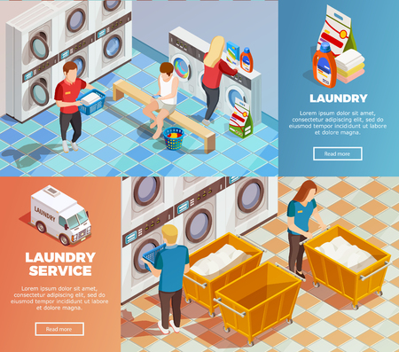 Colorful horizontal laundry service room with facilities for washing drying and cleaning banners set isometric isolated vector illustration