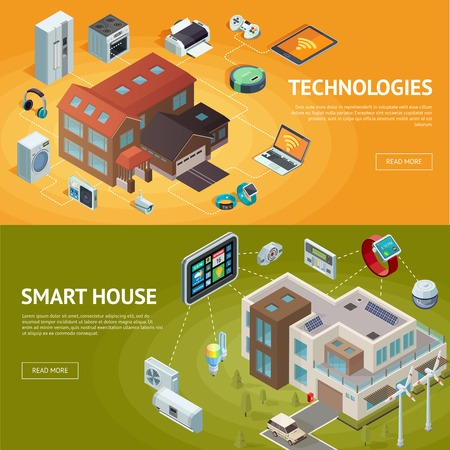 Set of horizontal isometric house banners with modern connected home technologies and internet of things conceptual compositions vector illustration