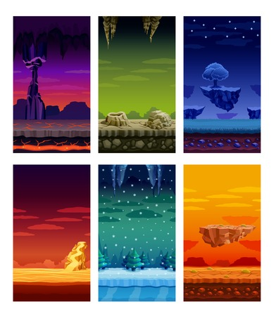 Electronic computer video games 6 beautiful screen display fantastic landscapes elements set colorful cartoon isolated vector illustration Illustration