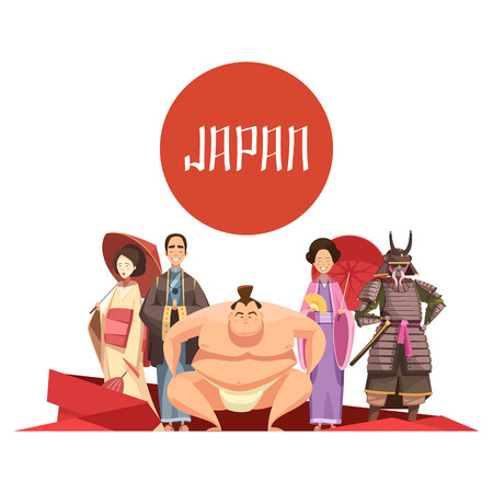 men and women: Japanese persons retro cartoon design with man and women in national clothing samurai sumo wrestler vector illustration