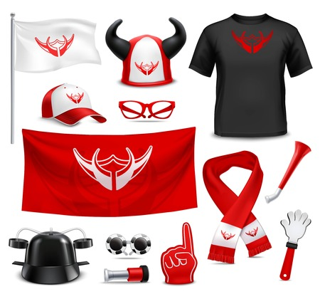 favorite number: Sport club fans buffs and supporters t-shirt flags and accessories red black design realistic set vector illustration