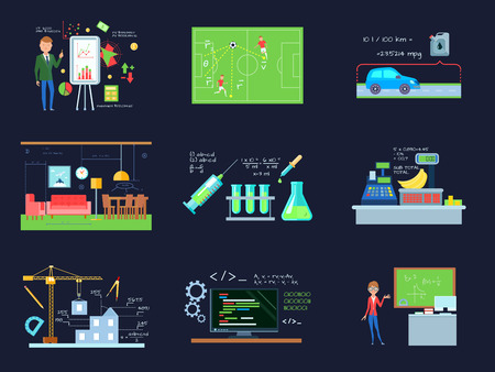 illustration industry: Set of isolated cartoon compositions with mathematics in education and industry flat images on dark background vector illustration Illustration