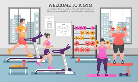 Fitness colored composition with people in the gym and having to work out vector illustration