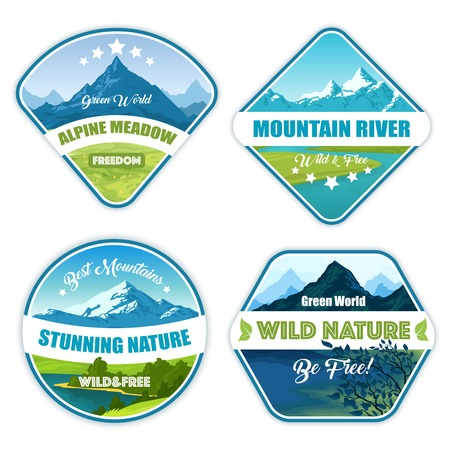 alps: Nature landscape logos set of four isolated alpine mountain emblems with wild scenery images and text vector illustration
