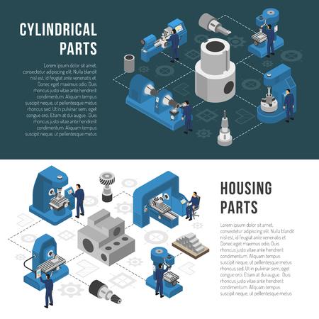 De beschrijving van het de productieproces van de zware industrie met cilindrische en huisvestingsdelen productieinformatie 2 isometrische banners geïsoleerde vectorillustratie
