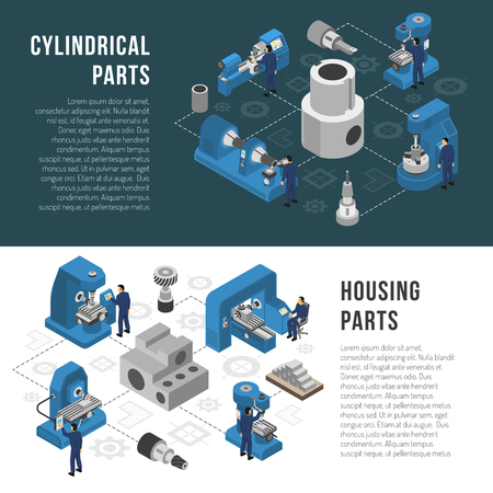 Heavy industry production process description with cylindrical and housing parts manufacturing information 2 isometric banners isolated vector illustration