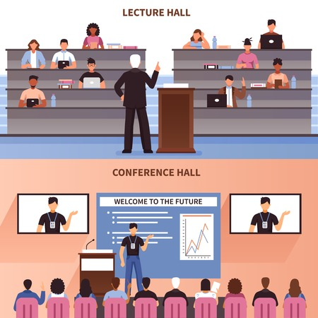 lecture hall: Two horizontal lecture and conference hall banner set with welcome to the future description vector illustration