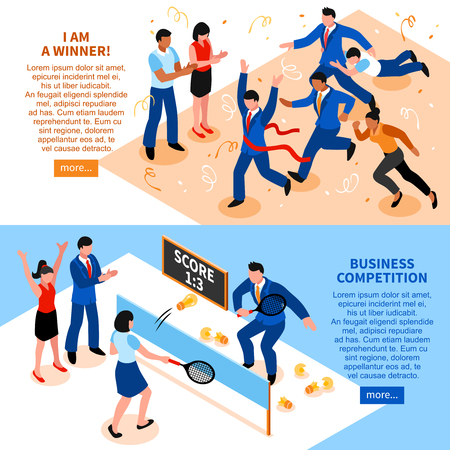 Two horizontal flat competition business horizontal banner set i am a winner and business competition descriptions vector illustration