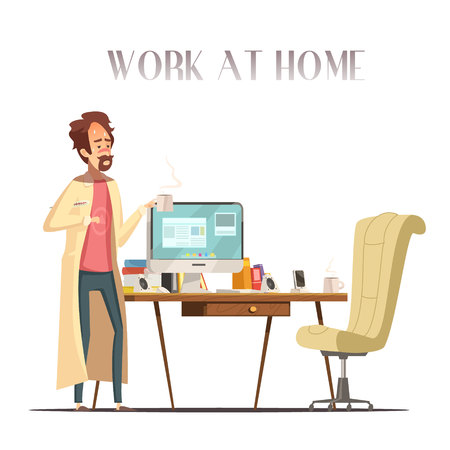 Sick feverish man with thermometer works at home laptop in pajama and bathrobe retro cartoon vector illustration Illustration