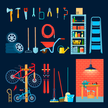 Home garage storeroom house interior objects composition with flat images of different manual tools and equipment vector illustration Иллюстрация