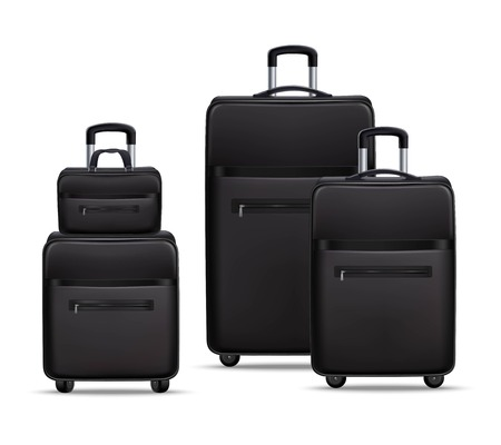 Business travel black realistic trolley with handbag and laptop bag baggage items set 3d shadow vector illustration