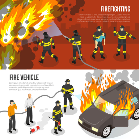 Horizontal banners with fire department fighting with flame in city and near burning car isolated vector illustration