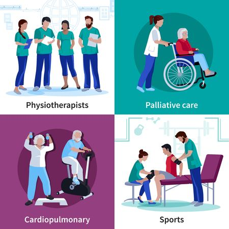 palliative: Physiotherapy cardio rehabilitation exercises and palliative care equipment 4 flat icons square banner isolated vector illustration