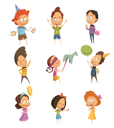 Cartoon retro icons set of kids dancing and having fun at birthday party isolated on white background vector illustration Illustration