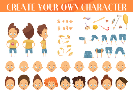 schöpfung: Schaffung von Cartoon-Figur-Jungen-Set mit Frisuren Emotionen Beine Positionen und Sport-Ausrüstung isoliert Vektor-Illustration
