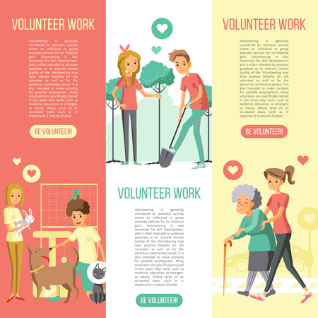 Volunteers work vertical banners set with saving nature help animals and elderly people flat icons vector illustration Ilustração