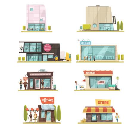 Supermarkt gebouw met koffiewinkels symbolen cartoon geïsoleerde vector illustratie Vector Illustratie