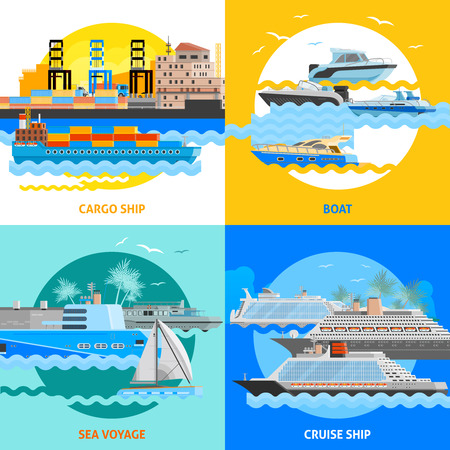Water transport 2x2 flat design concept set of cargo ships boats cruise liners and sea voyage vector illustration