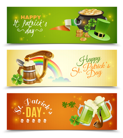 national holiday: Saint Patricks day horizontal banners set with national holiday symbols cartoon isolated vector illustration