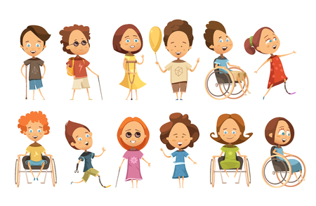 Set of disabled kids on wheelchair with crutch and prosthetic limbs blind persons isolated vector illustration