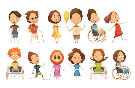 Set van gehandicapte kinderen op rolstoel met kruk en protheses blinden geïsoleerde vector illustratie