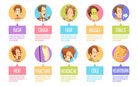 Colored and isolated cartoon sickness man icon set with cold headache chills flux rash descriptions vector illustration Illustration