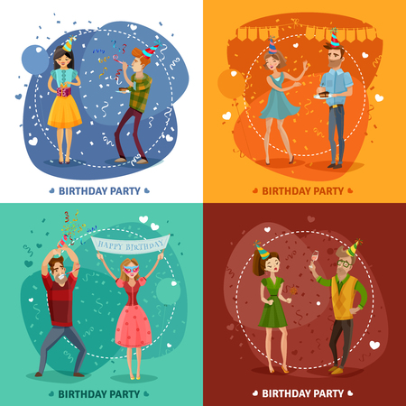 party horn blower: Birthday party 4 festive icons square with happy celebrating couples on colorful background isolated vector illustration Illustration